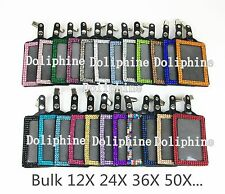 Wholesale Lots Rhinestone Vertical ID PU Leather Badge Holder with Lobster Claw