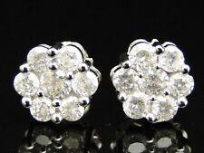14K Mens Ladies 8 MM White Gold Round Diamond Cluster Flower Studs Earrings 1 Ct