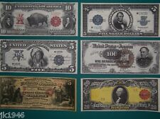 Starter Set of 6 Reproduction U.S. Currency Paper Money Copy