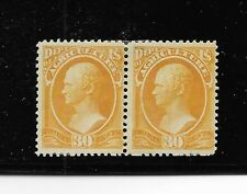 Us sc# O9 mint pair 30c Hamilton yello Dept Agriculture Official 1873 hr og f/vf