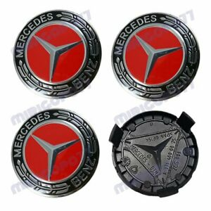 For Mercedes-Benz Wheel Center Caps Black Red Emblem 75MM AMG Laurel Wreath Hub