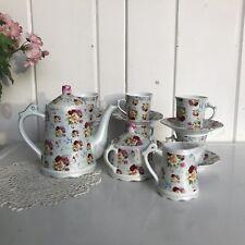 Floral Ceramic Tea Set Coffee Pot Sugar Creamer 6 Cup and Saucers Blue Pink Rose