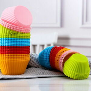 12x.Silicone Muffin Case Cupcake Cup Mold Reusable Baking Cake Mould Tray Baking