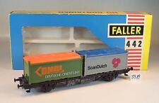 Faller H0 442 Containerwagen mit 2x20ft DNOL & Scan Dutch OVP #5989