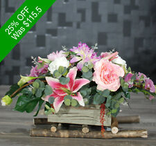 Artificial Flowers - Centrepiece Pink And Purple In Rustic Timber Box