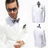 Men White Double Breasted Linen Suit Groom Tuxedos Wedding Formal Party Suit