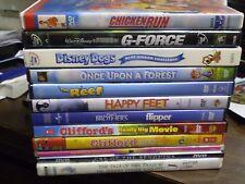 (13) Childrens Animal DVD Lot: Disney G-Force Happy Feet Chicken Run Disney Dogs