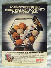 1985 Magazine Advertisement Ad Page Dunkin' Donuts Munchkins Donut Holes Jar Ad