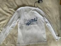 Pepe Jeans White Womens Longsleeve T-Shirt with Flowers