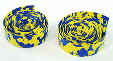 ROAD BIKE CORK HANDLEBAR TAPE PADDED BICYCLE BAR WRAP YELLOW/BLUE MARBLE/CAMO