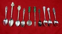 Group of 10 Antique Sterling Silver Spoons including Souvenir Spoons (#4629)
