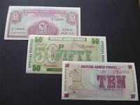 THREE MINT UNUSED MILITARY/ARMED FORCES BANKNOTES/SPECIAL VOUCHERS.£1, 50P & 10P