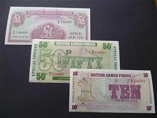 Trois mint militaire désaffecté / Forces Armées billets /.. des bons spéciaux £ 1, 50p & 10p