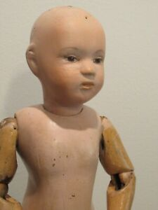 """Schoenhut 14"""" All Wood Doll Character 312 Early Incised Markings +2 wigs"""