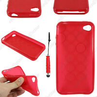 Housse Etui Coque Silicone Cercle Rouge Apple iPhone 4S 4 + Mini Stylet