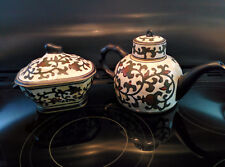 Decorative Oriental style pottery teapot & covered sugar bowl