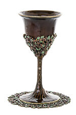 "Kiddush Cup with tray, Shabbat, Jeweled Enamel Brown 6"" x 3"", Tray: 4.5"""