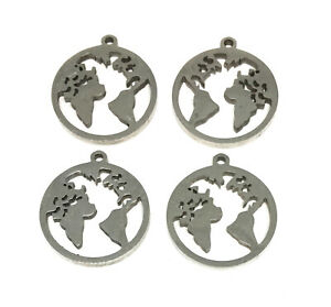 hypoallergenic 304 stainless steel 16mm earth world globe charms