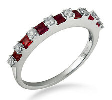 Solid 14K White Gold 0.68CT Ruby Stone Real Natural Diamond Band Fashion Jewelry