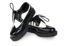 "Demonia Creeper 608 Black White Wingtip 1"" Oxford Comfort Shoe US Men Size 13 NY"