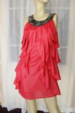 SIZE 8 CORAL RED HOWARD SHOWERS DESIGNER DRESS BEADED FRONT⚘FREE POST ON ANY 5