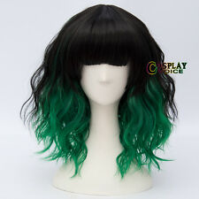35CM Lolita Short Curly Black Mixed Green Ombre Popular Neat Bang Cosplay Wig
