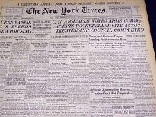 1946 DEC 15 NEW YORK TIMES - U. N. ACCEPTS ROCKEFELLER SITE 46 TO 7 - NT 2630