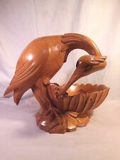 "LARGE Solid Wood Carved HERON Sculpture BOWL 12""t x 15""l x 10""w * $435 RETAIL"