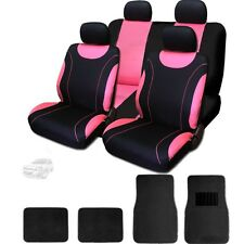 For Chevrolet New Flat Cloth Black and Pink Car Seat Covers With Mats Set