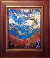 """Four elements. Original framed abstract acrylic on canvas 16""""x20"""" painting"""