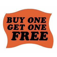 """Buy One Get One Free Labels Red Grocery Store Labels Black Imprint - 2"""" L x 1"""