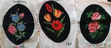 Set of 3 handmade gobelin needlepoint, flowers gobelin