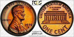 1970-S Lincoln Memorial Cent Penny PCGS PR67RB Large Date Unique Color Toned