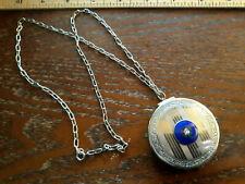 ANTIQUE ENAMEL GUILLOCHE COMPACT PURSE ART DECO sterling chain pendant necklace