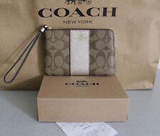 Receipt NWT Coach Signature PVC Leather Corner Zip Wristlet F58035 Khaki Holiday