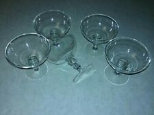 Set of 5 Candlewick Stem Champhane Style Sherbet Dessert clear glass 4 1/4 Rim