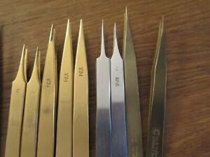 tweezers Dumont, Bergeon 12pce brass, steel, Titan,4,5,1AM, Ti
