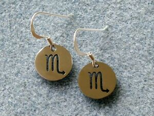 Scorpio Zodiac Earrings, Sun Sign, Star Sign, Sterling Silver and Steel