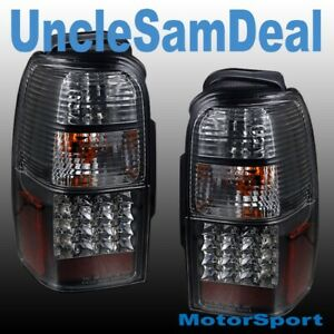 FOR 96-00 TOYOTA 4RUNNER CLEAR LENS BLACK RED LED TAIL LIGHTS PAIR DIRECT FIT
