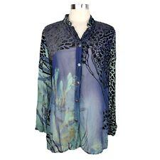 CITRON SANTA MONICA COLLECTION Sz M Tunic Top Shirt Velvet Animal Print Blue