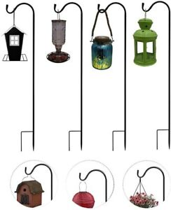 2/4 Pack Shepherds Crook Hooks, Metal Garden Stake for Bird Feeder, Solar Lights