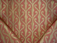 9+Y LEE JOFA BERRY / GOLD ARABESQUE FLORAL LEAF DAMASK SILK UPHOLSTERY FABRIC