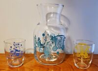 Vintage The Circus Parade Disney Glass Juice Carafe Set Decanter with 2 Glasses