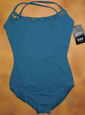 NWT Dance Bloch Teal Camisole Leotard Rouleaux Front Ladies Sm Adult L5957