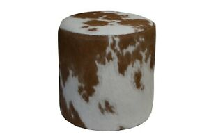 Cowhide Pouf Ottoman Round Color Brown and White, TOP Quality