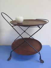 Danish modernist serving cart folding table w. TEAK trays era Vodder 50s Sweden