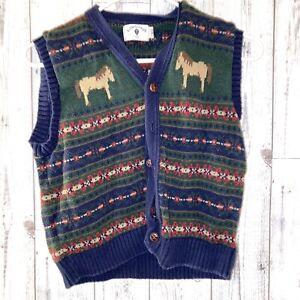 KITESTRINGS BOYS SWEATER VEST knit 8 / 10 horses blue green