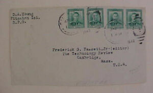 PITCAIRN PAQUEBOT 1940 on FRONT ONLY TO USA WITH 4 NEW ZEALAND STAMPS