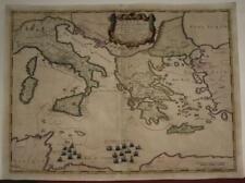 AENEAS JOUNEY GREEGE ITALY TURKEY 1650 PIERRE DU VAL ANTIQUE COPPER ENGRAVED MAP
