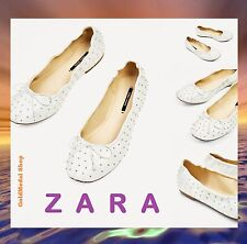 c4975f86a92 ZARA WHITE STUDDED BALLERINAS W BOW NEW(RT 40) FLATS SHOES US 6